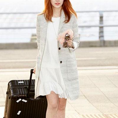 ユン·ウネファッションスタイル〜!レイヤードした感じのプリーツスカートワンピースドレス(WHITE,BLACK)