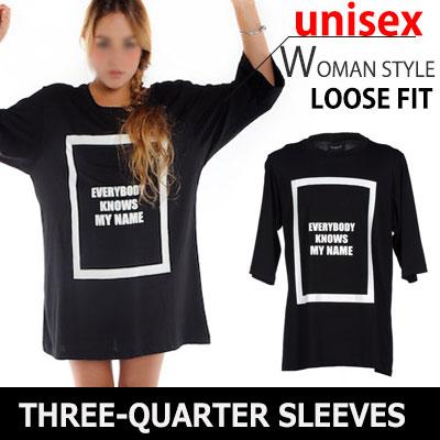 ブラックストリートファッション感性が目立つ7分袖ボックスTシャツ/THREE-QUARTER SLEEVES BOX T-SHIRTS