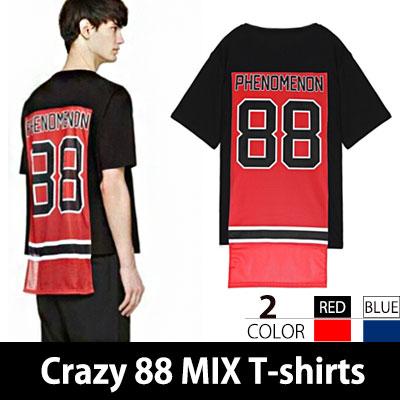 メッシュジャージー素材のパターンをパッチしたユニークアイテム!Crazy 88 mix jersey t-shirts(BLUE,RED)