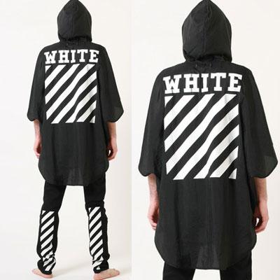 韓国アイドル愛用!軽いアウター!斜線パターンポンチョ(WHITE,BLACK)/DIAGONAL PATTERN PANCHO