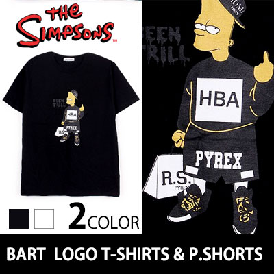 ルーズフィットHBA服を着たバートシンプソン!BART WITH..HBA LOGO T-SHIRTS & P.SHORTS LOOSE FIT (BLACK/WHITE)