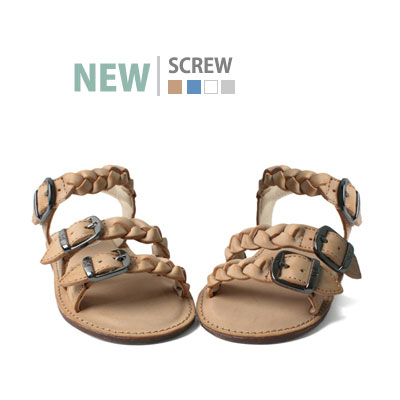 韓国子供靴[BUDDY/SCREW]スクリューサンダル キッズ サンダル ねじりサンダル SCREW KIDS SANDAL(Blue,Silver,Tan,White)15cm~23cm