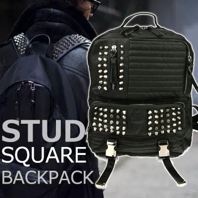 モダンで、感覚的なストリートファッションアイテム!スクエアスタッドバックパック/高級合成皮革/SQUARE STUD BACKPACK