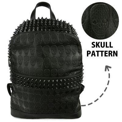 BLACK STREET 感性のユニークバックパック!様々な表情が面白いスカルバックパック/高級合成皮革/SKULL STUD  BACKPACK