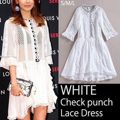 少女時代スヨンスタイルで話題になったホワイトチェックパンチングプリーツワンピースドレス/Check punch pleated lace dress
