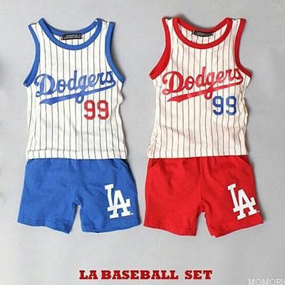韓国子供服 [DODGERS SET]★上下セット★ストライプ99ロゴ ベースボール タンクトップ+ショーツセット(RED、BLUE)