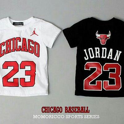 韓国子供服 [CICAGO T-SHIRTS]人気のシカゴ23ロゴ半袖Tシャツ(WHITE、BLACK)