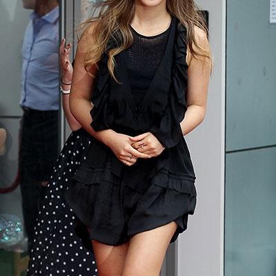 少女時代のユリ、ファッションスタイル!ブラックラッフルワンピース(S,M,L)
