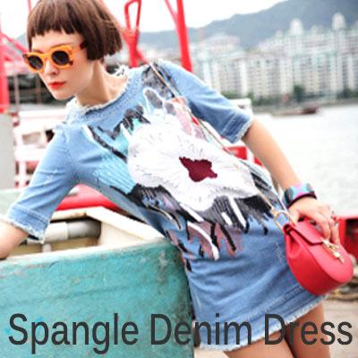 これ1枚でもおしゃれになれる!スパングルが付いたデニムドレス Spangle Denim Dress (M,L)