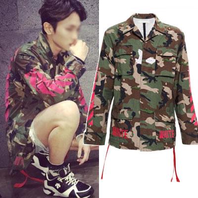 ★再入荷完了★SHINee Key、カニエ·ウェストスタイル!カモレッドライン刺繍パッチジャケット/camouflage