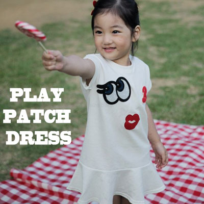 韓国子供服 キュートで感覚的なプレイパッチワンピース (WHITE,GREY)