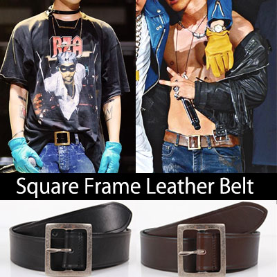 BIGBANG G-DRAGON &TEAYANG FASHION STYLE! Square Frame leather belts/イタリア製本革ベルト(M,L/BROWN,BLACK)