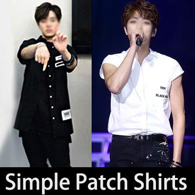 [INFINITEナ]ムウヒョン,[GOT7]JBなど韓国人気アイドルでCOMBACK STAGEでも着用!シンプルロゴパッチオーバーサイズシャツ(BLACK,WHITE/S,M)