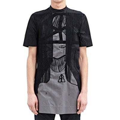 ★高クオリティ★ダークなアバンギャルドムードがたまりなく魅力的な!フェイスプリントロングシャツ