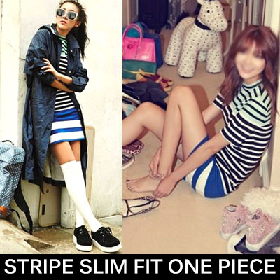 2NE1 SANDARA 少女時代スヨンスタイル!スリムフィットストライプワンピース/STRIPE SLIM FIT ONE PIECE