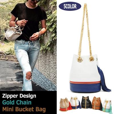 ファスナー付きゴールドチェーンバケットミニバッグ Zippered gold chain bucket mini bag (5colors)