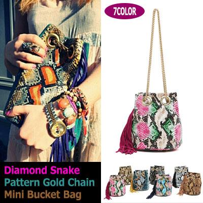 ダイヤモンドパイソンゴールドチェーンバケットミニバッグ Diamond Snake pattern gold chain bucket mini bag (7colors)