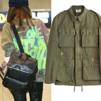人気番組[花よりじいさん]に出演した時、チェ・ジウ のファッションスタイル!グラフィティペイントプリントジャケット(S/M)