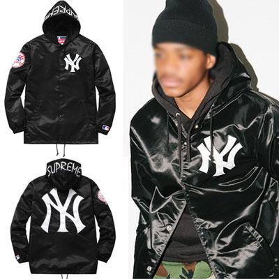 ★少量入荷★人気のニューヨークヤンキースサテンHOODIE JACKET BLACK