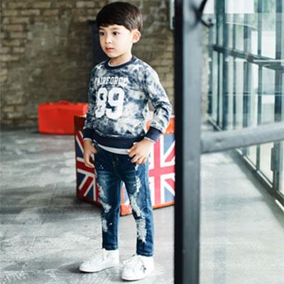 韓国子供服 ビンテージな感覚 オシャレな子供服 ディストリロイド  デニムジーンズ/KID BLUE JEANS /スタイリッシュなキッズ服