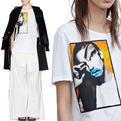 オシャレしてユニークなグラマラスブルーリップTシャツ(WHITE,BLACK)/BLUE LIP PORTRAIT T-SHIRTS
