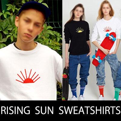 今、話題になっているホットストリートブランド!ライジングサンプリントプルオーバースウェットシャツ/トレーナー/RISING SUN PRINT SWEATSHIRTS