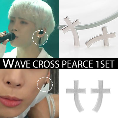 SHINEEジョンヒョン,KEYのユニークなWAVEクロスピアス(1SET-2ps)/WAVE CROSS PEARCE
