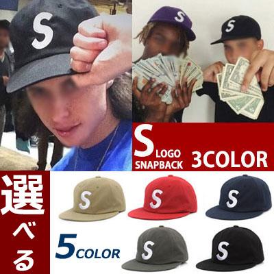 ★選べる5色★海外ファッションセレブに大人気の6パネル S LOGO SNAPBACK (RED,KHAKI,BLACK)