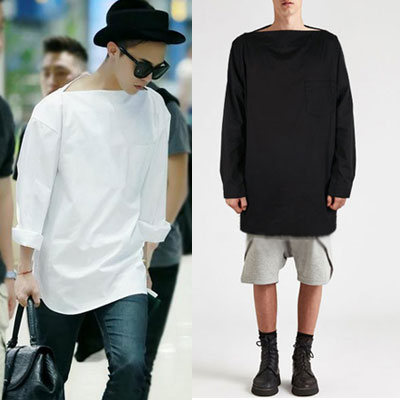 BIGBANG[MADE]活動中のG-DRAGON 空港ファッション!カッティングネックルーズフィットシャツ[MADE]