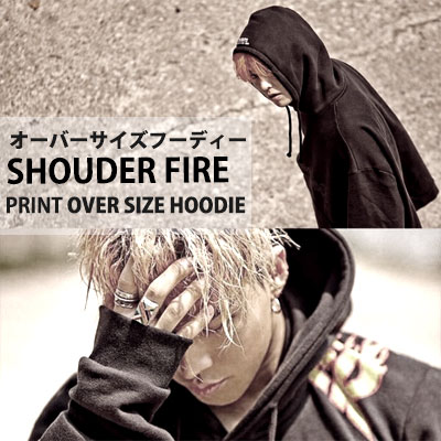 BIGBANG MADE SERIES [E] SOL テヤン STYLE!ショルダーポイントプリントオーバーサイズフーディー/SHOUDER FIRE PRINT OVERSIZE HOODIE