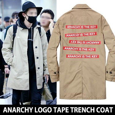 EXOチャニョルSTYLE!ANARCHY IS KEY ロゴテープトレンチコート ANARCHY LOGO TAPE TRENCH COAT  TRENCH COAT