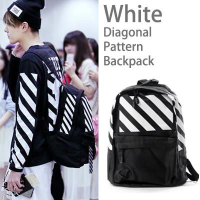 EXO 空港ファッションスタイル! オシャレなホワイト斜線パターンバックパック(男女兼用)軽量リュック/backpack