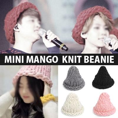 韓国で大ブレイク中!数多くのスターやEXOメンバーSTYLEで話題になったホットアイテム!ミニマンゴーニット帽MINI MANGGO KNIT BEANIE-copy