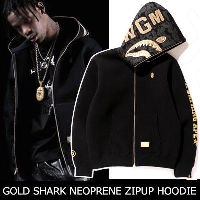 アニバーサリー記念ゴールドシャークフェイスジップアップフーディー/ANNIVERSARY GOLD SHARK FACE NEOPRENE ZIPUP HOODIE