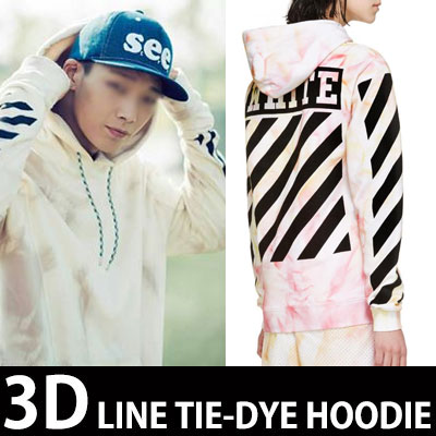 iKONデビューシングルPV『趣向狙撃(MY TYPE)』BOBBY STYLE!暖かい感じのタイダイ染め プルオーバーパーカー  (裏起毛)/Tie-Dye Hoodie