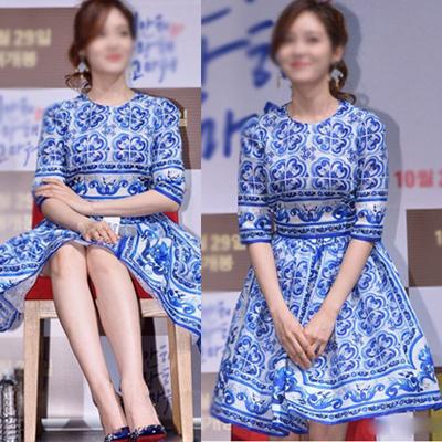 韓国の人気女優ソン·ユリファッションスタイル!ファッションスタイル!ブルーフラワーアンドホワイトスクエアドレス/BLUE FLOWER ANDWHTIE SQUARE DRESS