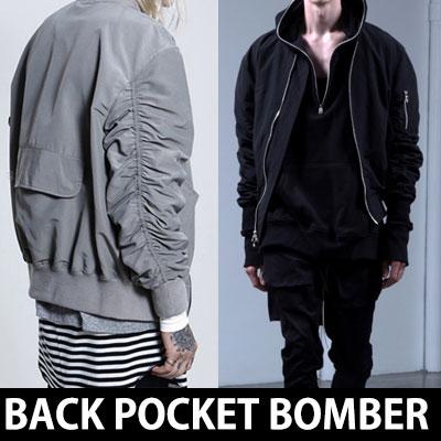 海外ファッションセレブの支持を受けている人気アイテム!バックポケットポイントボンバージャケッ  ト(中綿入り)/ MA-1/フライトジャケット