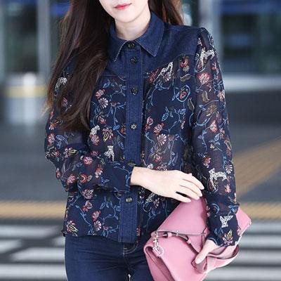 少女時代ティファニー、ジェシカ空港ファッションスタイル!フローラルパターンデニムパッチシースルーブラウス(S,M)