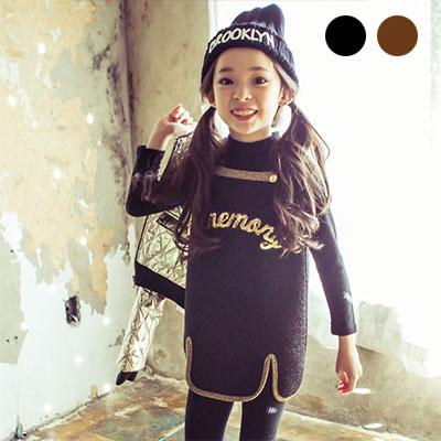 韓国子供服 [LIPOP/PEARL DRESS]レギンスとのコーディネート!可愛いパールストラップ子供ワンピース
