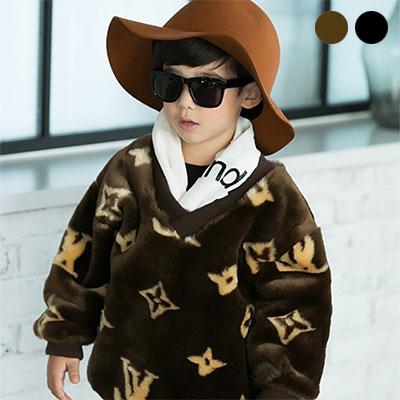 韓国子供服 [LIPOP/FUR OVER TEE]暖かい冬になれるファー素材オーバーフィット子供Tシャツ