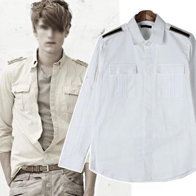 ショルダー部分の肩章が素敵なエポレットホワイトシャツ(S,M,L)/EPAULET WHITE SHIRTS