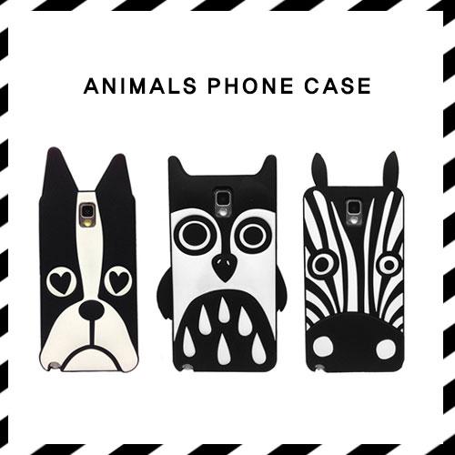 スタイリッシュなモノトーンアニマルスマホケース/ANIMALS PHONE CASE(HORSE, DOG, OWL)
