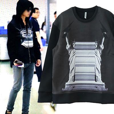 韓国アイドルEXOなどにダイブレイク中!雷と自由の女神ネオプレンスウェットシャツ