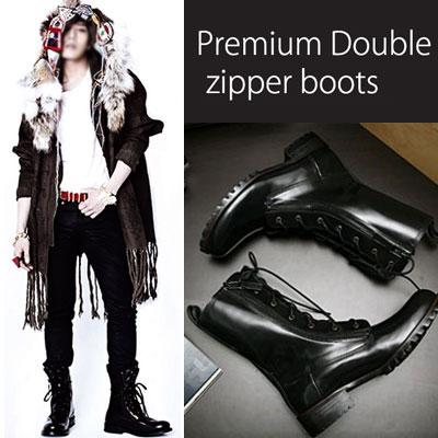 ★高クオリティハンドメイドシューズ★BIGBANG & GDRAGON MINI4集収録曲「トゥナイト」の撮影時に着用したスタイル!プレミアムダブルファスナーブーツ(牛革カーフレザー)Premium Double zipper boots