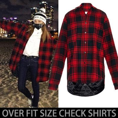 ★綿中入りキルティングVER.★2NE1 SANDARA BIGBANG [MADE]ツアーの時G-DRAGON私服スタイル!オーバーサイズのチェックシャツジャケット(RED.BLACK)
