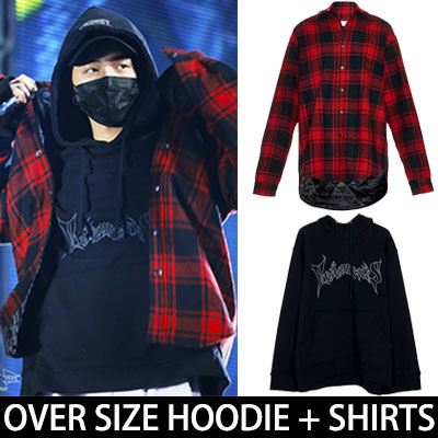 ★5%OFF★G-DRAGON OVER SIZE SET★フードパーカ+チェックシャツジャケットセット