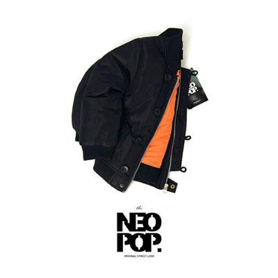 [韓国子供服[NEOPOP/FLIGHT JUMPER]秋冬の定番トレンドMA-1フライトジャンパー/ブラック