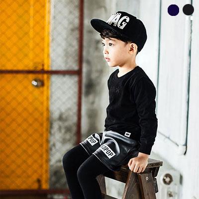 [韓国子供服[NEOPOP/THOR LEATHER PANTS]レギンスとコーディネート!シックな魅力のレザーパンツ