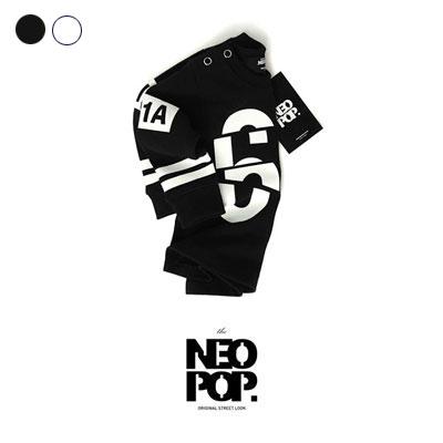 [韓国子供服[NEOPOP/69CUTTING-PAINTING-TEE]数字カッティングペインティングデザインの長袖Tシャツ