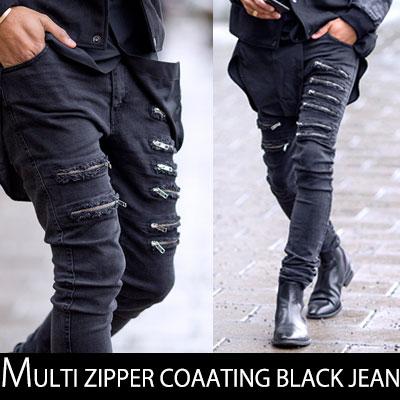 ユニークさ溢れるブラックストリートファッション!マルチジッパーコーティングヴィンテージブラックジーンズ/MULTI ZIPPER COAATING BLACK JEAN